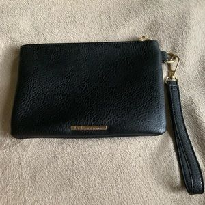 New BCBG Black Leather Clutch